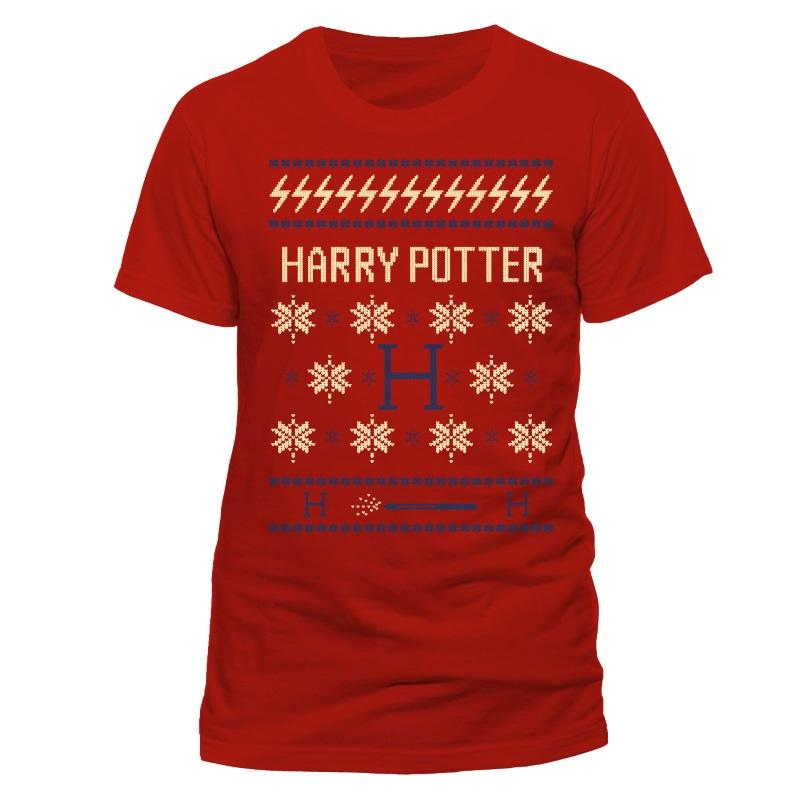 harry potter harrry potter red christmas t shirt large